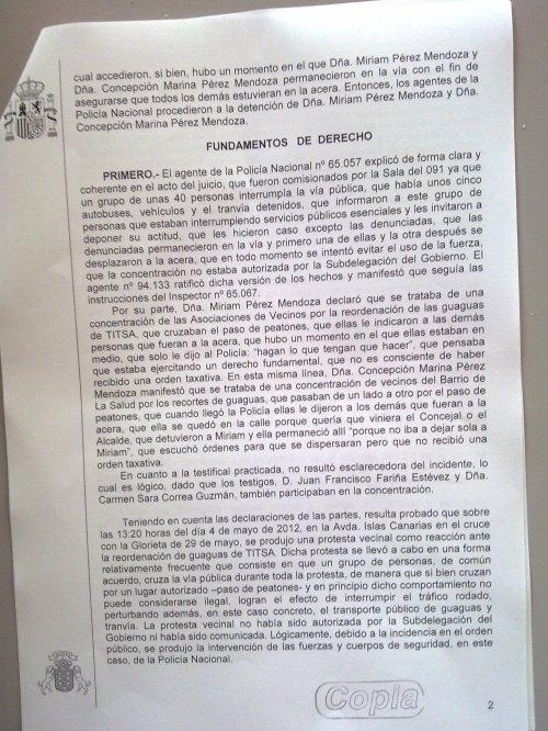 Fundamentos sentencia por parar el tranvía. Santa Cruz de Tenerife.